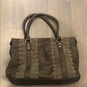 Beautiful Anthro Tote (Vegan Leather & Lace Mix)